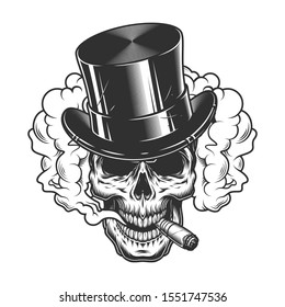 Skull in smoke cloud and top hat. illustration
