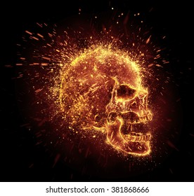skull spark is isolated on black background