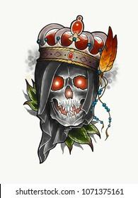Skull tattoo design. Neo traditional Digital art. Old school.
