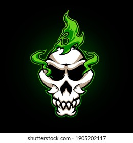 skull with toxic smoke for logo or other design