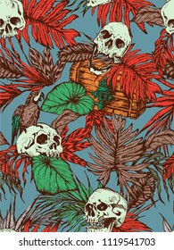 Skull in tropics on blue background
