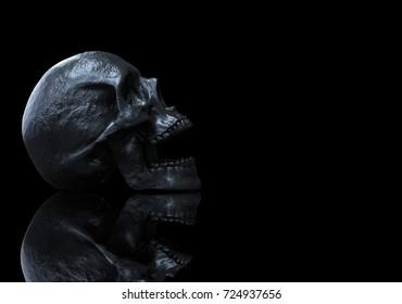 skull wallpaper hd with reflections 3d illustration