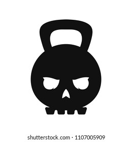 Skull weight kettlebell.  modern style flat line  character cartoon illustration icon logo template design. Isolated on white background. Skull,weight,sport,kettlebell,gym concept