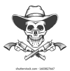 Skull in a western hat and a pair of crossed hand guns drawn in tattoo style.