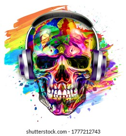 skull with wings and headphones