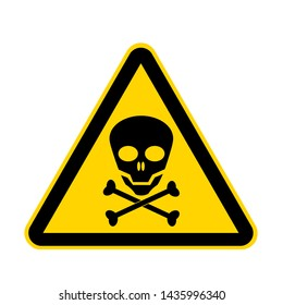 A skull yellow danger sign isolated on white with clipping path
