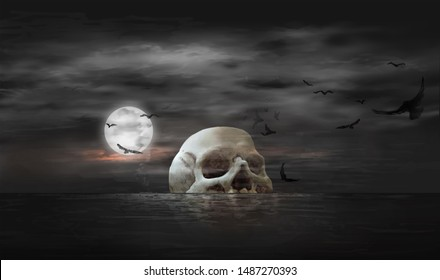 Skull-like island in the middle of the sea, Halloween or death themed concepts, illustration painting of digital art style