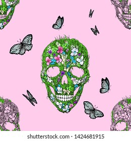 Skulls, flowers and foliage with butterflies. Floral seamless print.illustration. Symbols of day dead. Vintage. Template for paper, textiles, wallpaper