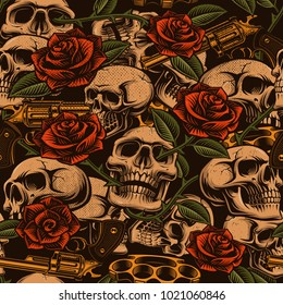 Skulls with guns and roses seamless pattern. (RASTER VERSION)