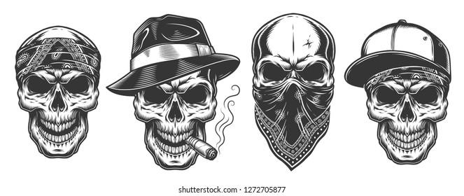 Skulls in monochrome vintage style, gangsters and mafia set.  illustration.