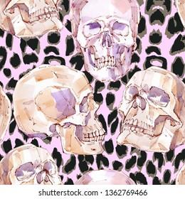 Skull.Watercolor skull patetrn. Seamless pattern.