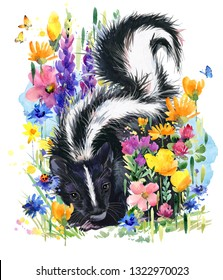 skunk. forest animals. Summer flowers watercolor illustration. greeting card. blossoming fields.