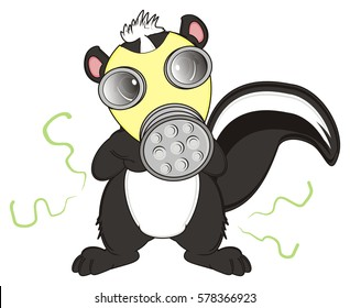 skunk wearing a gas mask over his stink