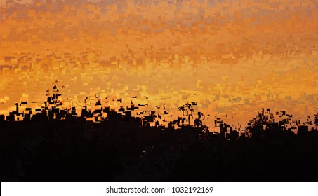 the sky after the battle, tribute to Pollock, abstract expressionism, art, digital, abstract illustration with mosaic effects of gradient colors black, orange, yellow,