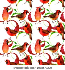 Sky bird red cardinal pattern in a wildlife by watercolor style. Wild freedom, bird with a flying wings. Aquarelle bird for background, texture, pattern, frame, border or tattoo.