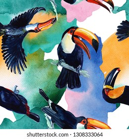 Sky bird toucan pattern in a wildlife by watercolor style. Wild freedom, bird with a flying wings. Aquarelle bird for background, texture, pattern, frame, border or tattoo. - Illustration