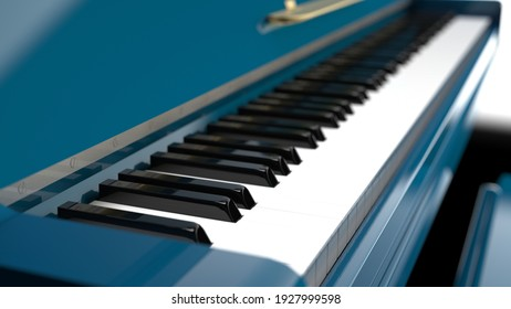 Sky Blue Grand Piano under Black Background. 3D illustration. 3D high quality rendering. 3D CG.