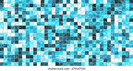 Sky Blue Modern Tiled Ceramic Mosaic Tiles Material Texture. Good for Interior Design