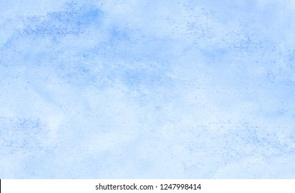 Sky blue shades watercolor background. Aquarelle paint paper textured canvas for text design, greeting card, template. Turquoise color handmade illustration