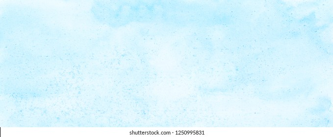 Sky blue watercolor background. Aquarelle paint paper textured canvas for text design, greeting card, template. Turquoise shades color handmade illustration