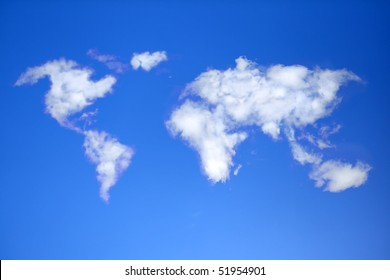 Sky with clouds in shape of world map.