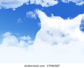 sky with clouds shaped as cat's head