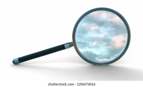 Sky, clouds through a 3D Magnifier glass isolated on white background.