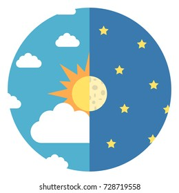 Sky divided in halves with sun, moon, white clouds and yellow stars. Day and night, nature and time concept. Flat design