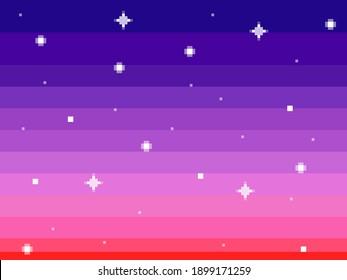 A sky full of stars, in pixel art vaporwave style (big pixels, pink-blue color palette).