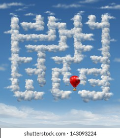 Sky is the limit concept with a red hot air balloon flying up to the sky navigating through a group of storm clouds shaped as a maze or labyrinth puzzle as an icon of leadership success strategy.