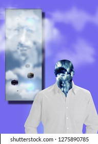 Sky man in white shirt. Ghost face and floating stones. 3D rendering