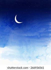 sky with moon and stars painted in water colors