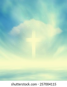 Sky Scape And Christian Glowing Cross