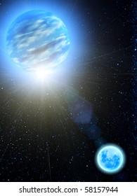 Sky  stars  Earth  moon