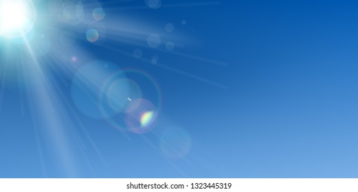 Sky with sun and lens flare