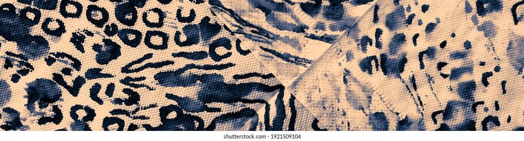 Sky Watercolour Leopard. Sky Pattern. Beige Leopard Fur. Jungle Animal Texture. Indigo Cheetah Texture. Animal Fur Pattern. Beige Tropical.