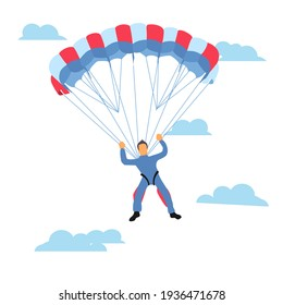 Skydiver flying with a parachute, parachuting sport and leisure activity concept raster