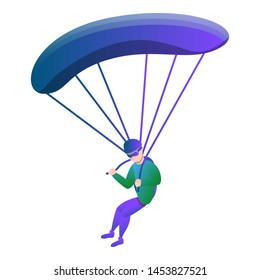 Skydiver with parachute icon.