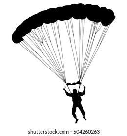Skydiver, silhouettes parachuting illustration