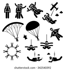 Skydiving Skydives Skydiver Parachute Wingsuit Freefall Freefly Stick Figure Pictogram Icons