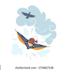 Skydiving sport illustration. Extreme sport