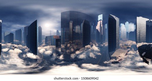 Sky-high city. City in the clouds. Environment map. HDRI . equidistant projection. Spherical panorama. landscape. 3d rendering