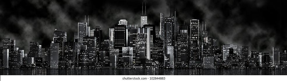 a skyline of a big imaginated city