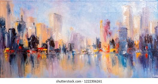Небесный вид на город с отражениями на воде. Оригинальная картина маслом на холста,