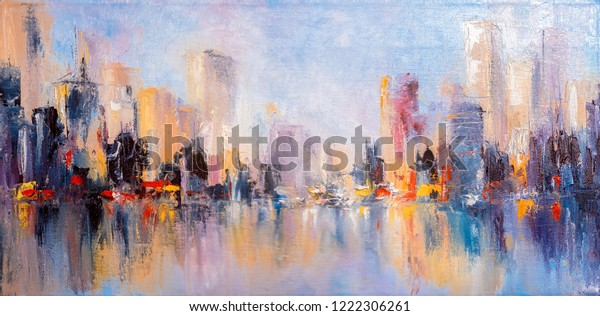 Skyline city view with reflections on water. Original oil painting on canvas,