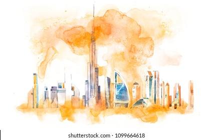 Skyline of Dubai Cityscape landmark skyline. Watercolor illustration