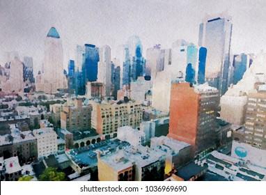 Skyline of Manhattan in watercolor