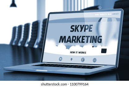Skype Marketing Concept. Closeup Landing Page on Laptop Display on Background of Meeting Room in Modern Office. Toned Image. Selective Focus. 3D Rendering.