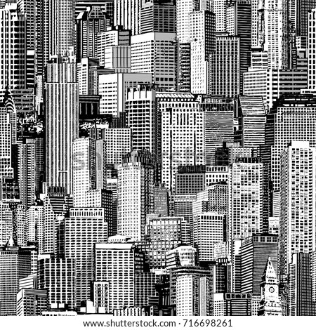 Skyscraper City Seamless Pattern Large Is Hand Drawing Of Different Buildings Like Manhattan Jpg 450x470 Patterns
