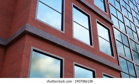 skyscraper facade building office workplace blue windows red bricks finance 3D illustration